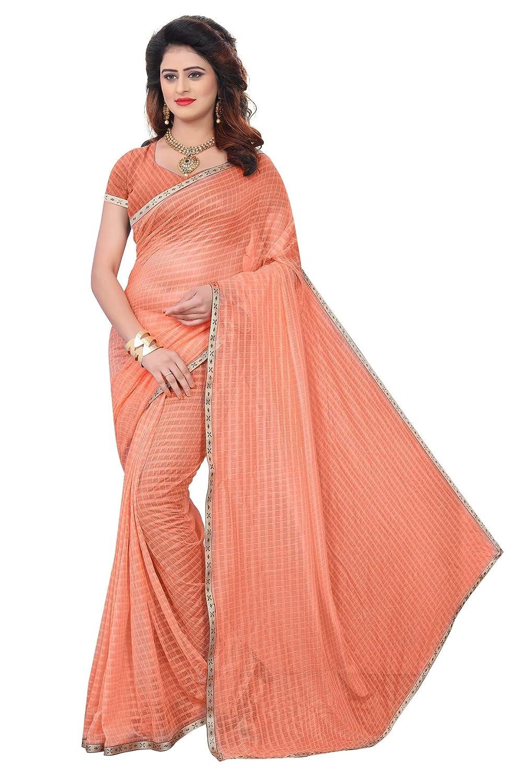 Florence Women's Orange Lycra Printed Saree With Blouse(FL-PT-INTERNET02_Free Size)