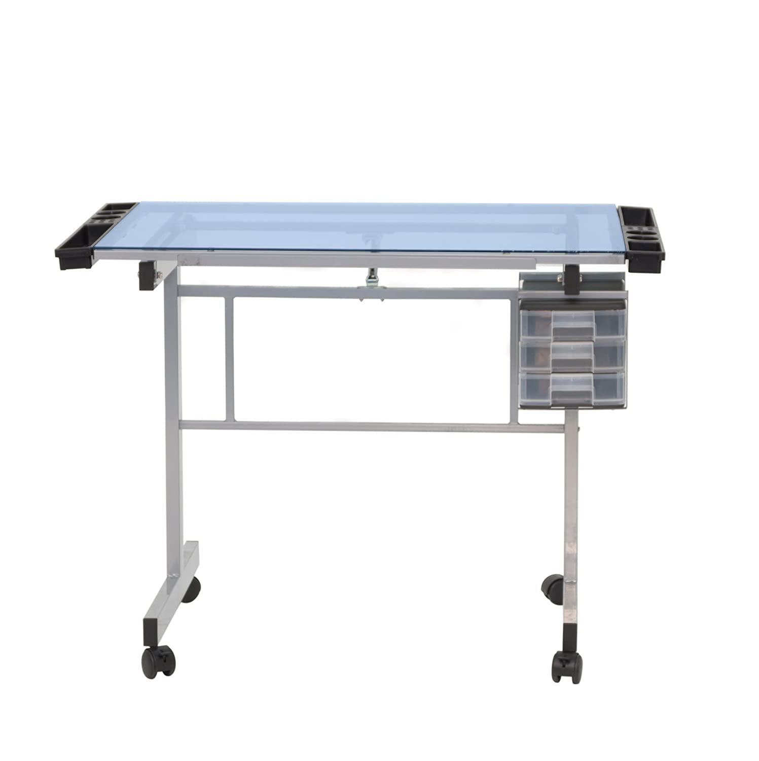 Studio designs futura craft station with glass top - Amazon Com Studio Designs 10053 Vision Craft Station In Silver Blue Glass