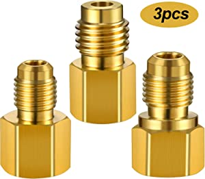 3 Pieces R12 R22 to R134A Adapters 6015 R134A Brass Refrigerant Tank Adapter to R12 Fitting Adapter 1/2 Female to 1/4 Male Flare Adaptor Valve Core 6014 Vacuum Pump Adapter 1/2 Male to 1/4 Female