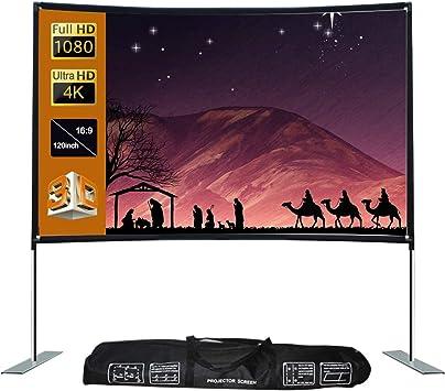 Opinión sobre Pantalla de proyección16:9 Pantalla de proyector al aire libre Home TheaterProjector ScreenPortable Proyector Screenfor Home Theater (tamaño: 02; color: blanco)