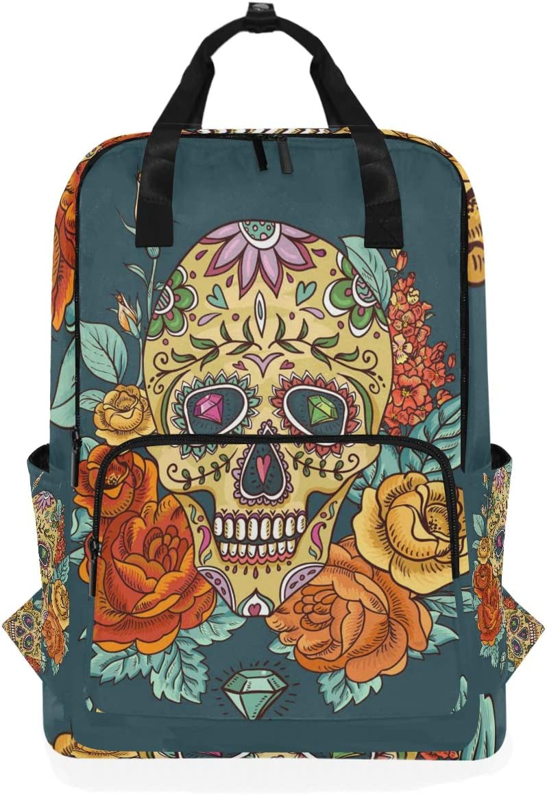 10.5x5.5x15 Holds 14-inch Laptop Backpacks College School Book Bag Travel Hiking Camping Daypack for boy for Girl Color Skull Rose