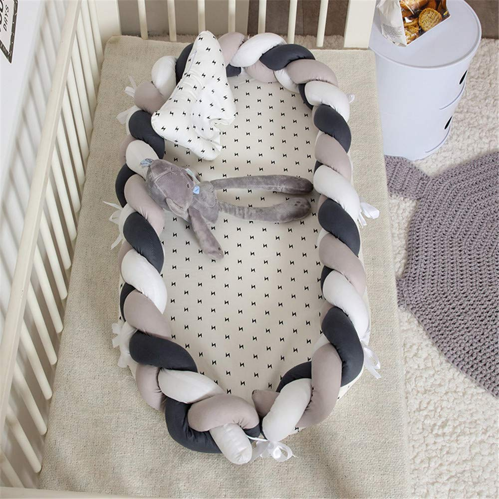 Abreeze Baby Lounger for Newborn -White-Grey-Black Baby Lounger - Braided Knot Crib Co-Sleeping Baby Bed - 100% Cotton Portable Crib for Bedroom/Travel/Camping 0-24 Month by Abreeze