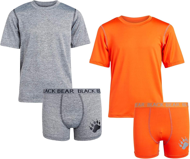 Grey//Orange 12//14 Black Bear Boys Active Performance Boxer Brief and T-Shirt Matching Set 4 Pack Size Large
