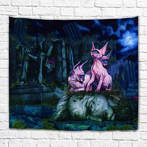 Imagination of Robert Walker Sphynx Hairless one Eyed Cats Large Art Tapestry