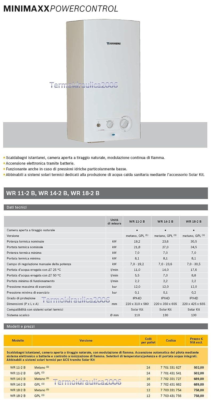 Junkers WR 14-2 B Vertical Sin depósito (instantánea) Sistema de calentador único Color blanco - Hervidor de agua (Vertical, Sin depósito (instantánea), ...