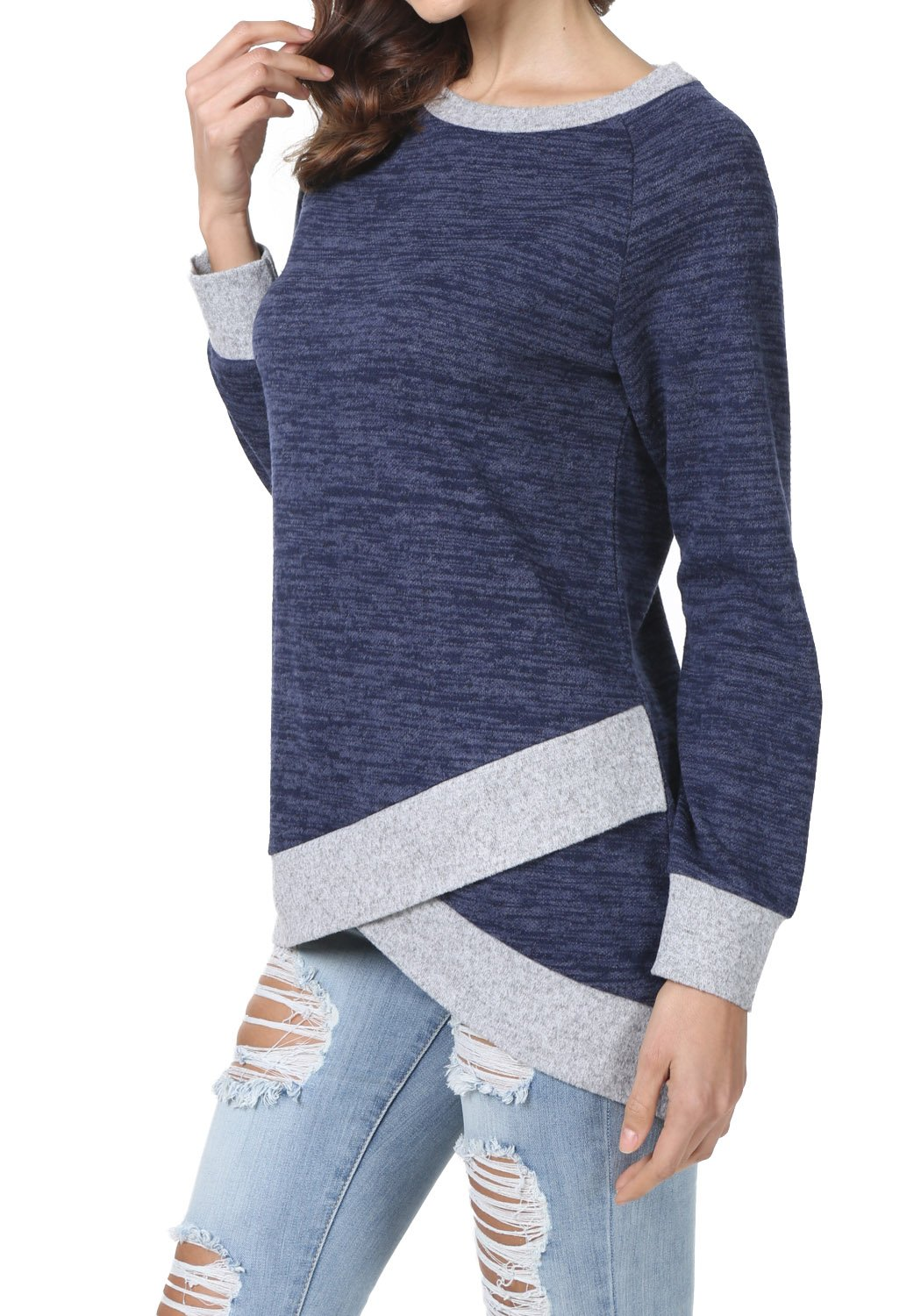 levaca Womens Long Sleeve O Neck Cross Loose Fit Casual Blouse Tunic Tops Blue M by levaca (Image #3)