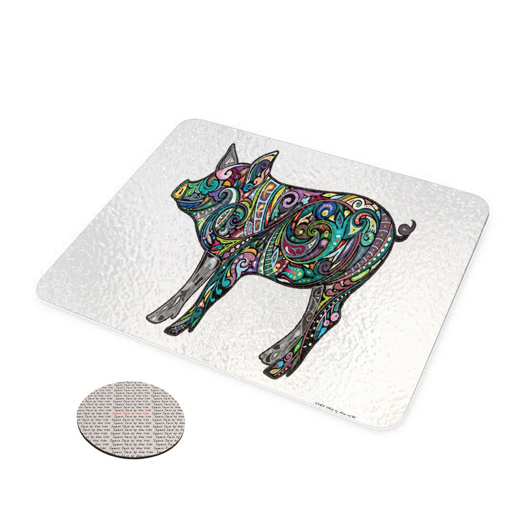 Amazon.com: Pretty Piglet Pig - Space Case by New Vibe Glass Cheese Cutting Board: Kitchen & Dining