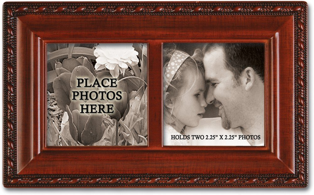 Photo Frame Lid Woodgrain Cottage Garden Petite Music Box Plays Wonderful World