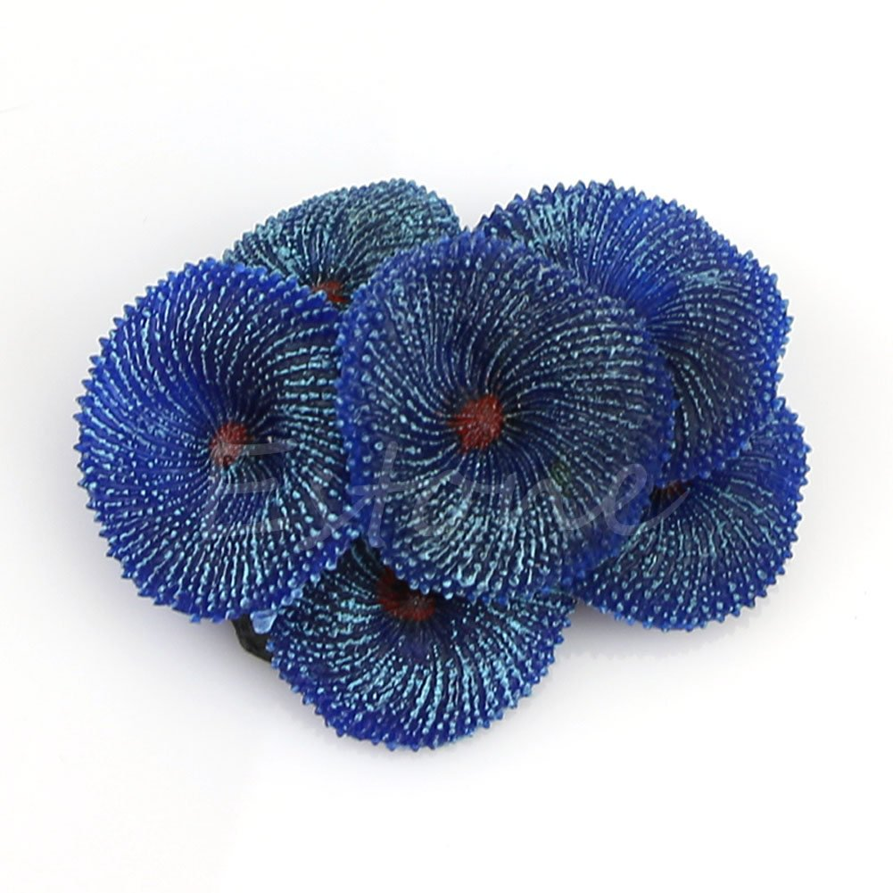 Xuniu Acuario Artificial Resina Suave Disco Rojo Coral Mar Planta Ornamento Decoración Azul (6.95x6.19x2.82cm)