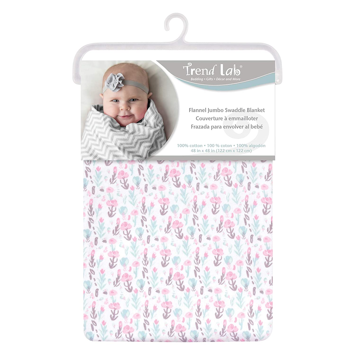 Trend Lab Pastel Painterly Floral Jumbo Deluxe Flannel Swaddle Blanket