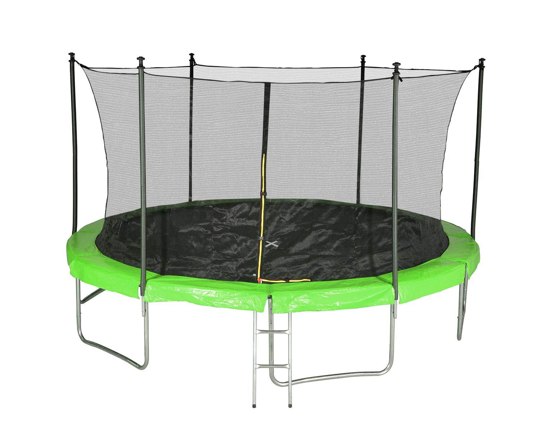 Unbekannt Trampolin für den Garten, TÜV mit Innennetz, Durchmesser 14 Ft / 427cm – 6 Stangen – Farbe wählbar