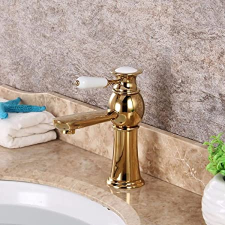 Robinet salle bain avec Haut Robinet lavabo pour Lavabo ou Vasque de Salle Bain Robinet en laiton pour robinet deau chaude et deau froide Mitigeur /à levier unique /à 1 trou