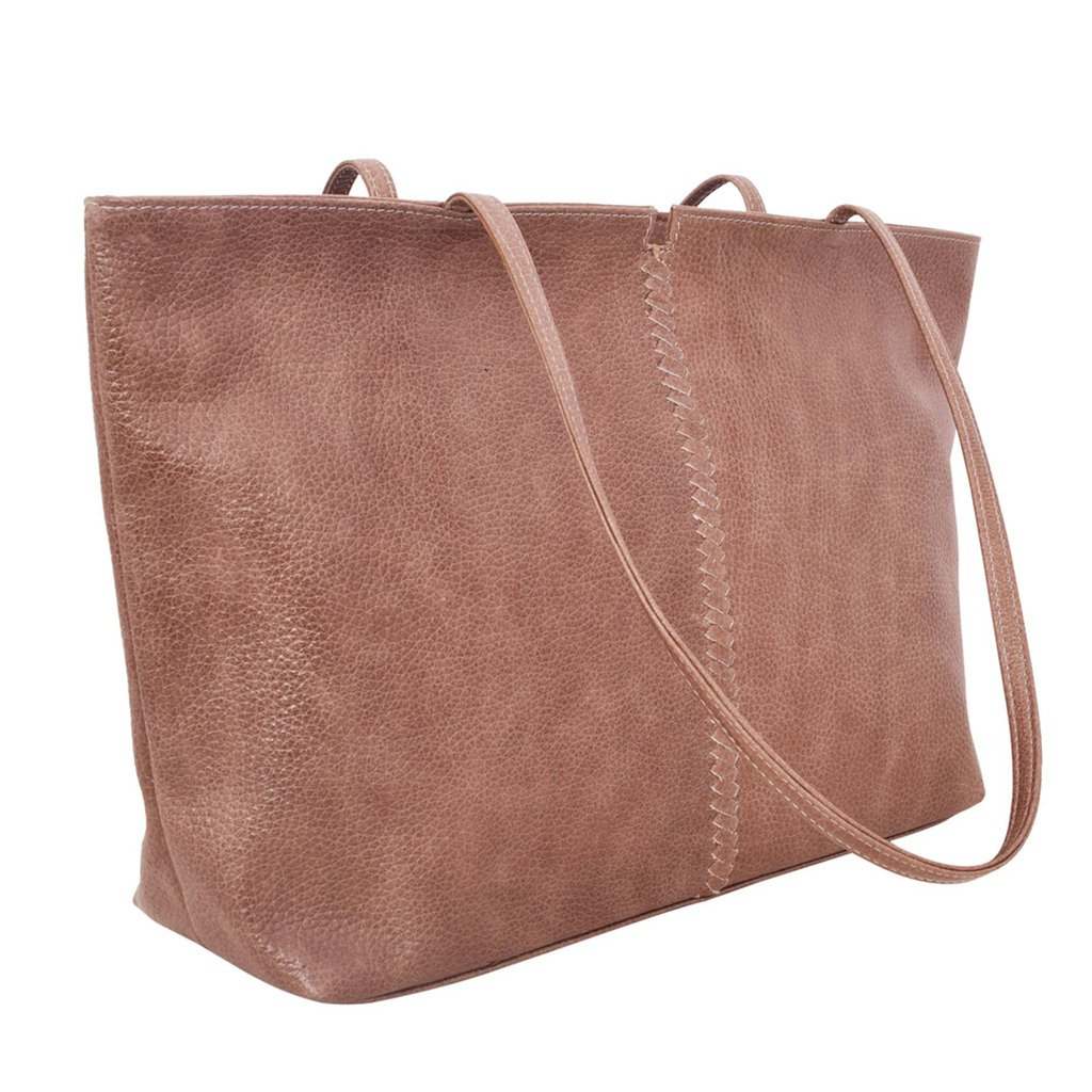 Latico Leathers Cruz Tote Genuine Authentic Luxury Leather, Designer Made, Business Fashion and Casual Wear, Pebble Taupe by Latico