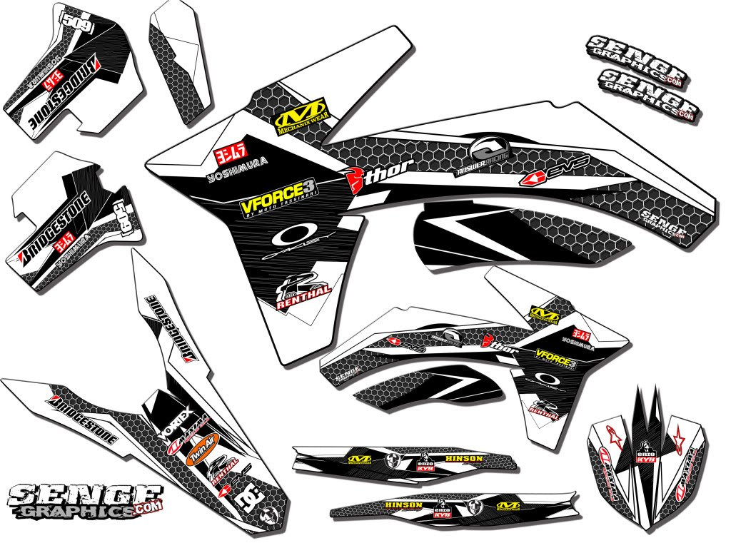 Senge Graphics 2005-2019 Suzuki RM 85, Podium White Graphics Kit Senge Graphics Inc.