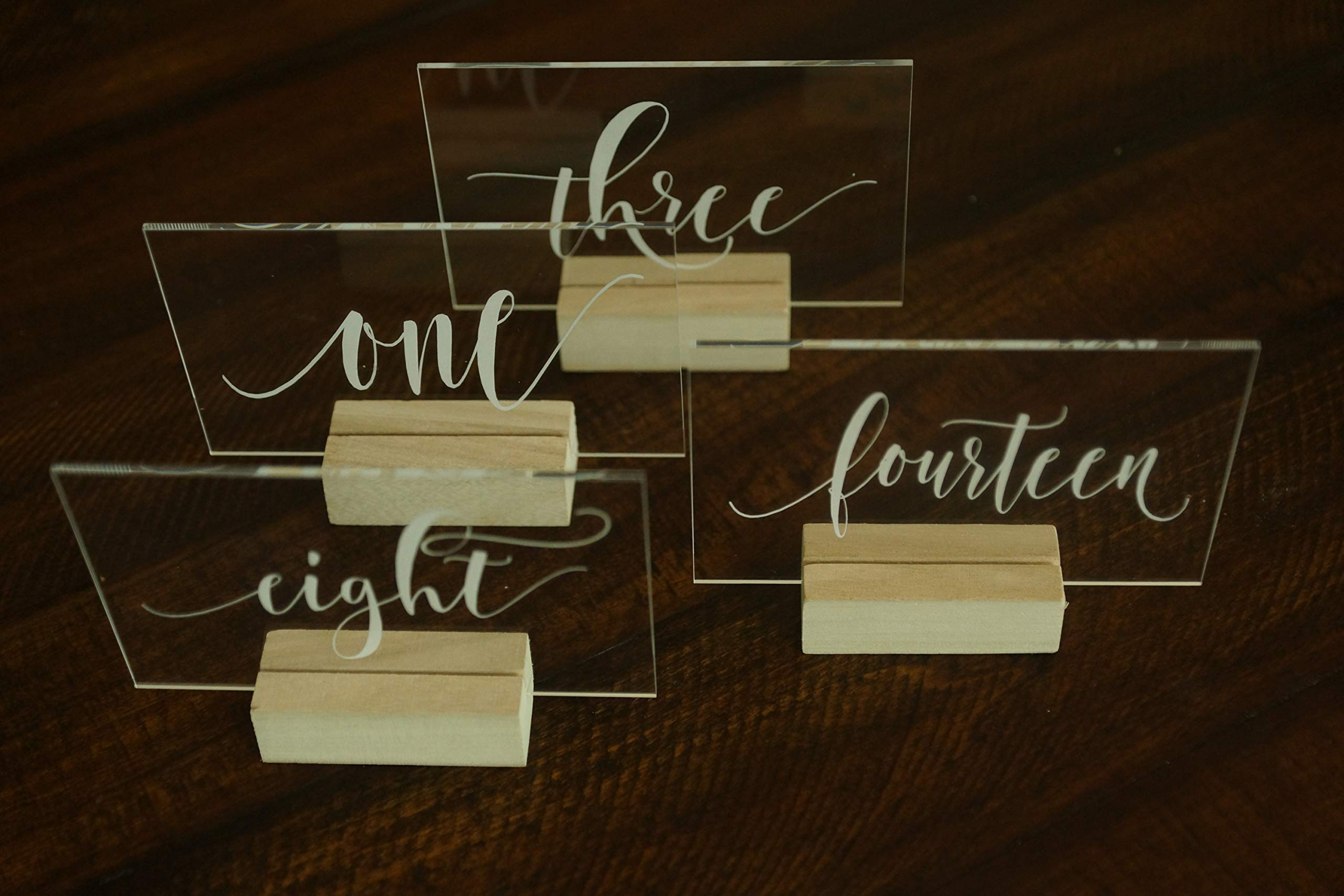Set of 20 Acrylic Calligraphy Table Numbers   Wedding Event Shower Reception Restaurant   Glass like Clear Modern Formal Elegant Vintage Rustic   Sign Placard Card   Lettering Script Handwriting Print by Generic (Image #6)