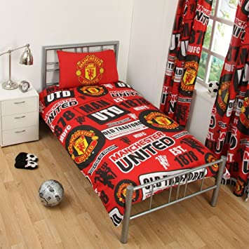 Children Manchester United FC Football Lover Print Single Reversible Bed Set