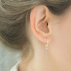 Hoop earrings with Charm Silver Hoops CZ Bead Dangle Small Thin Sleepers Classic Jewelry