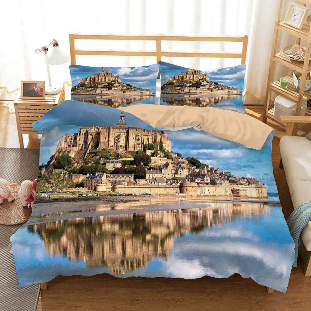 Medieval Decor Khaki Duvet Cover Set Full/Queen Size,French Castle on the Sea Fairy Photo of Renaissance Historical Cultural Heritage,Decorative 3 Piece Bedding Set with 2 Pillow Shams,Blue Cream Whit