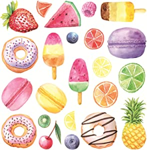 Maydahui 2 Sheets(48 Count Ice Cream Wall Decal Donuts Wall Sticker Colorful Fruit Stickers Macaron Dessert Popsicle Decals for Nursery Kids Room Fridge Decoration Children's Day Decor