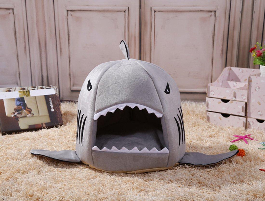 Lamzoom Camas de Perro de Apoyo Cálido Perro Cama de Felpa Impermeable Deluxe Suave Lavable Cesta Extraíble Premium Shark Mascota Almohada Elástica Esponja ...