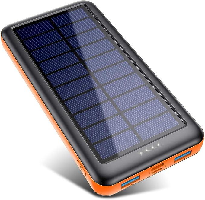 Pxwaxpy Cargador Solar 26800mAh, Power Bank Solar de carga rápida
