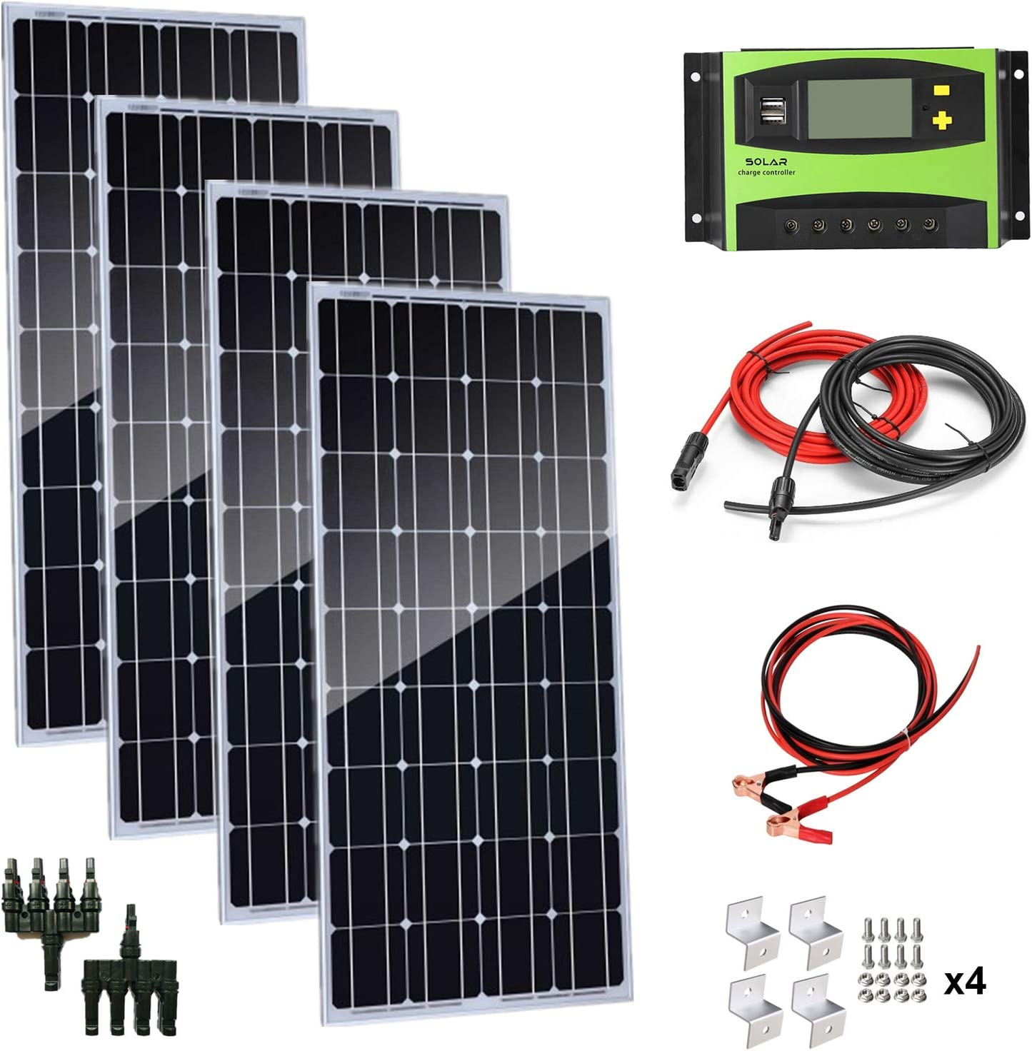 AUECOOR 400 Watt 18 Volt 12 Volt Solar Panel Monocrystalline Solar Bundle Kit, Solar Charging System with 40A LCD Solar Controller for RV, Boat,Motorhome,Marine Off Grid System 12V Battery