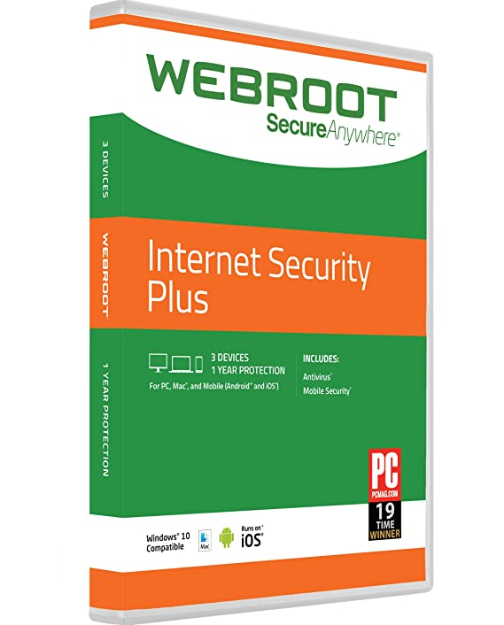 Webroot Internet Security Plus with Antivirus 2018   3 Device   1 Year Subscription   PC/Mac Disc-Best-Popular-Product