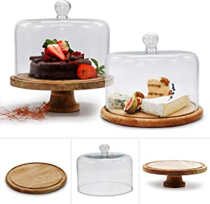 New Arrival: 3 in 1 Cake Stand wood Set of Raised Mango Wood Cake Stand & Flat Round Wooden Cake Stand Rustic cake stand with dome. Wedding Cake Stand with Lid, Food Display. Handcrafted in India