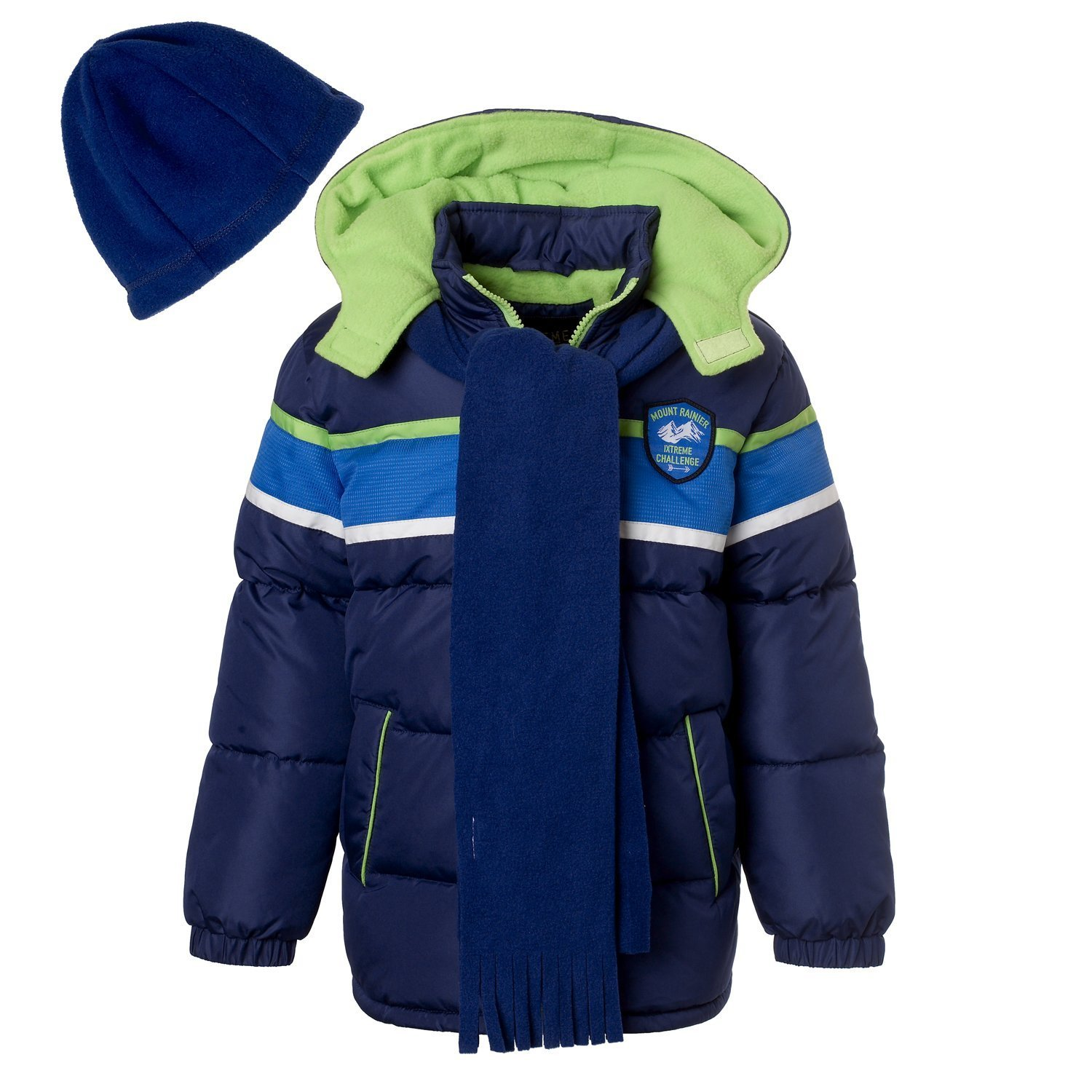 iXtreme Little Boys Colorblock Print Puffer Jacket Set with Hat & Scarf, Navy, 3T