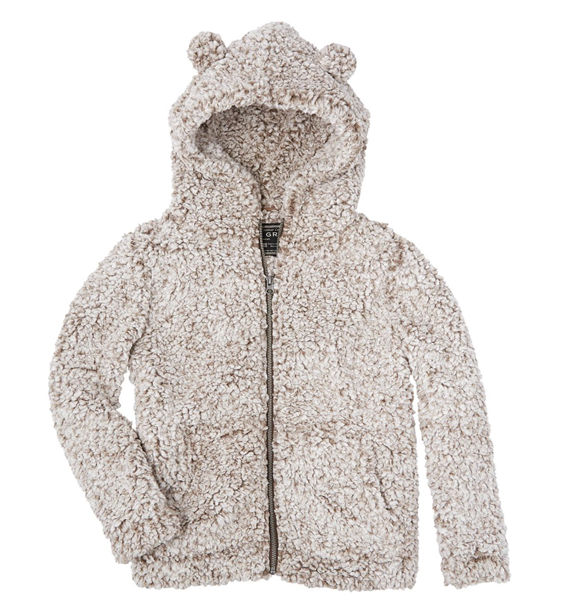 True Grit Youth Frosty Tipped Pile Teddy Bear Zip Up Hoodie-Brown-Youth Large