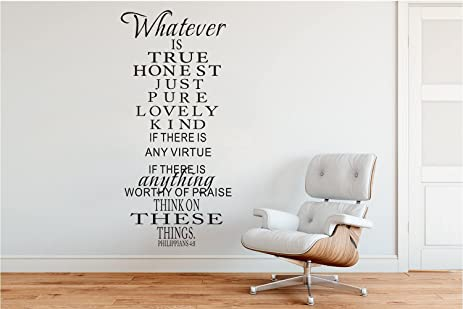 Wall Decal Decor Bible Verse Wall Decal Philippians 4:8 Whatever Is True    Vinyl
