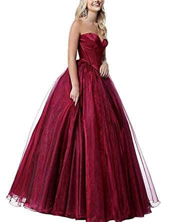 Stillluxury Strapless Organza Corset Prom Dresses Long Princess Ballgown Evening Wedding Wine red Size 6