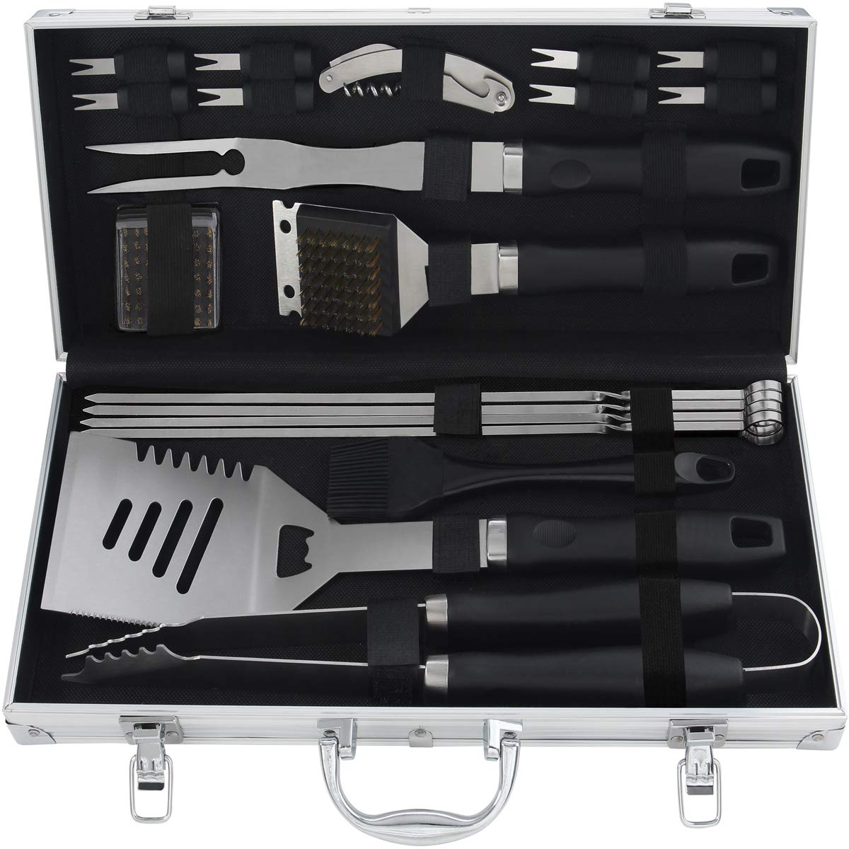 Grilljoy 20PCS Heavy Duty BBQ Grill Tools Set. Extra Thick Stainless Steel Fork, Spatula, Tongs Cleaning Brush. Complete Barbecue Grilling Accessories Kit in Aluminum Storage Case. Dishwasher Safe
