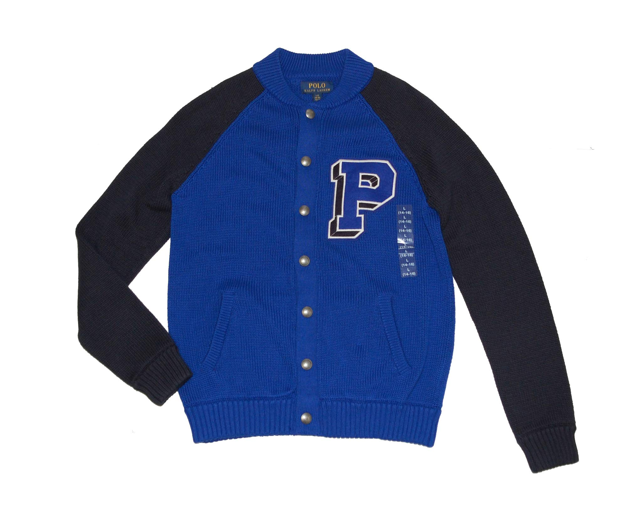 Ralph Lauren Polo Big Boys P Logo Patch Cardigan Sweater (Small 8) Blue