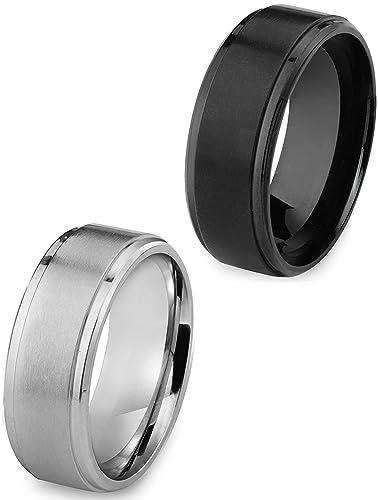 Anillo de acero inoxidable unisex (plata y negro)
