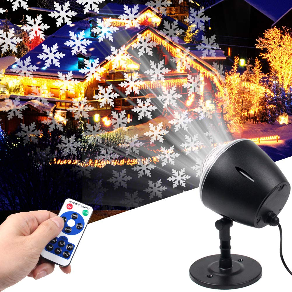 Christmas Snowflake Light Projector,White Moving Snowflake Light Projector Halloween Outdoor Decorations Waterproof