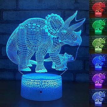 Night Lights 1 Piece Of 7 Colors 3d Dinosaur Led Night Light Desktop Table Lamp Children Gift Creative Night Light I Crack Section Amazon Co Uk Lighting
