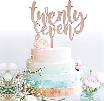 Enjoyable Amazon Com Grantparty Twenty Seven Rose Gold Cake Topper 27Th Personalised Birthday Cards Paralily Jamesorg