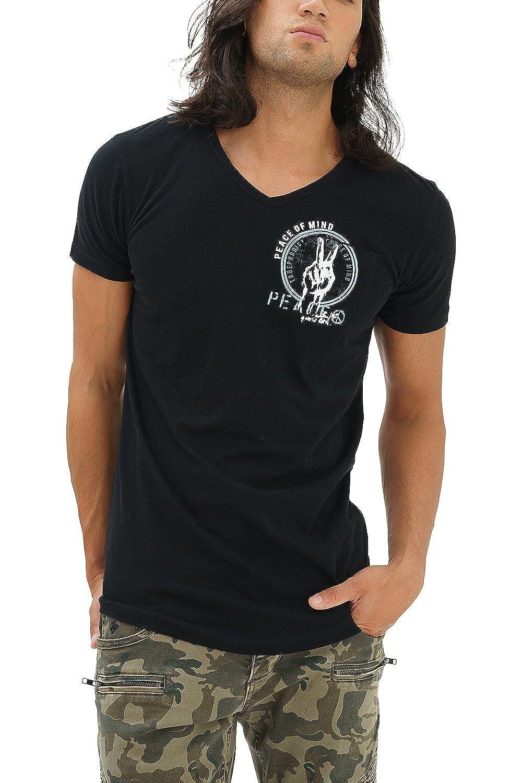 trueprodigy Casual Hombre Marca Camiseta con impresión Estampada Ropa Retro Vintage Rock Vestir Moda Cuello V Manga Corta Slim Fit Designer Fashion T-Shirt