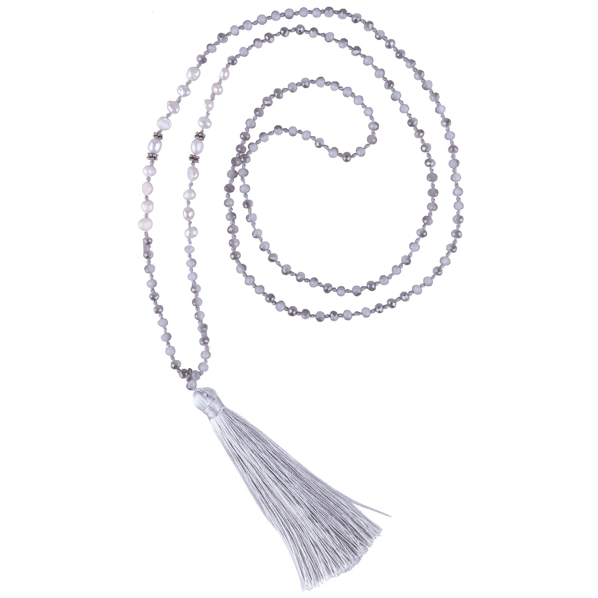 C·QUAN CHI Long Chain Tassel Necklace Handmade Natural Pearl Crystal Beaded Pendant Bohemian Women Statement Jewelry Women Gifts Girls