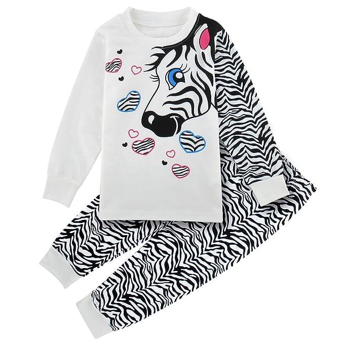 Mombebe Niñas Chicas Cebra Conjunto De Pijamas Ropa De Dormir (Cebra, 2 años)