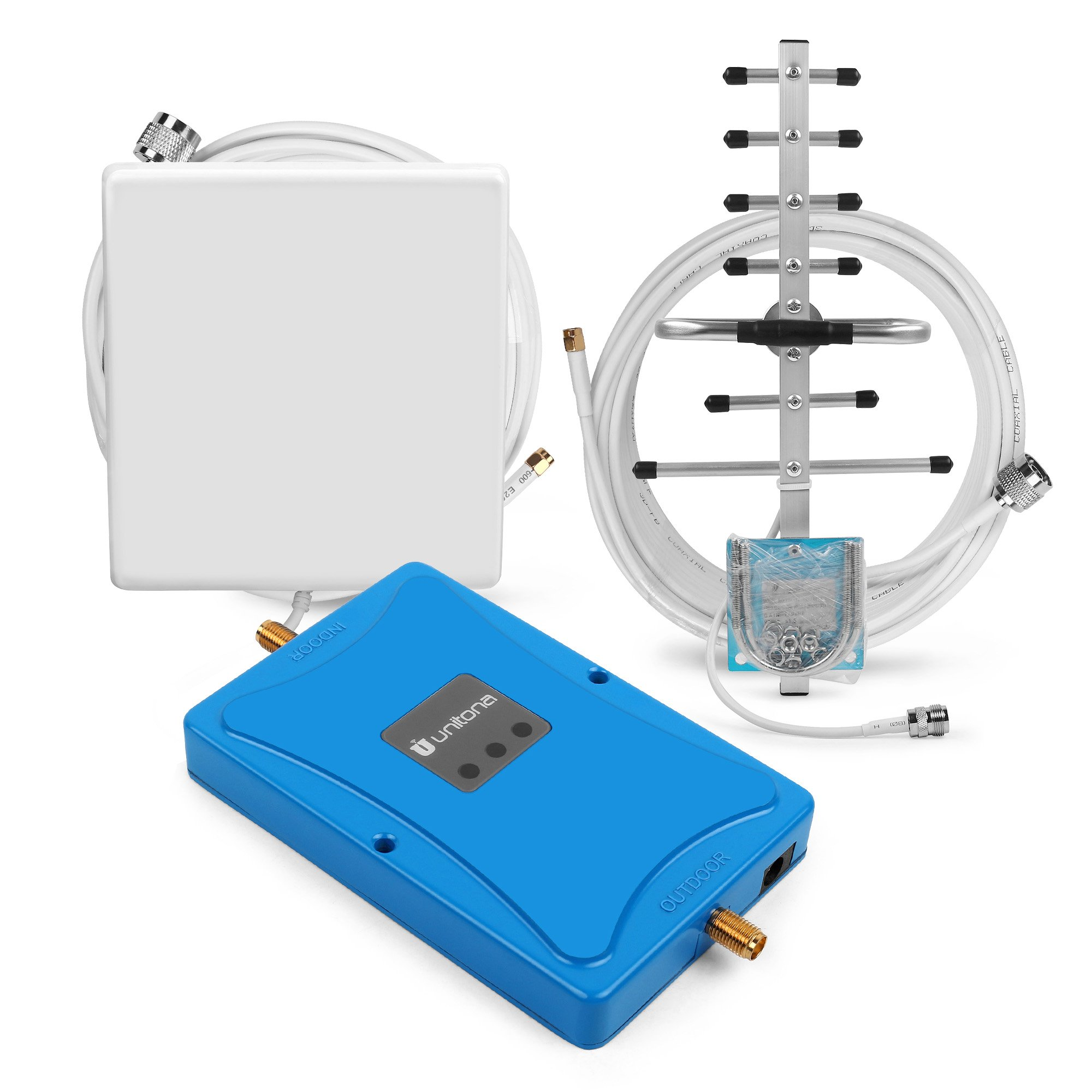 Single Band 1900MHz 72dB Gain Cell Phone Signal Booster Mobile Phone Wireless Repeater + Interial Outerial Antennas for Home/Office Use (panel+yagi)