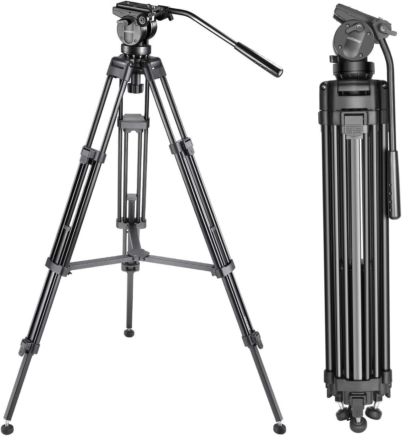 Piastra a Sgancio Rapido 155 cm Neewer 10087146 Trepiedi in Lega di Alluminio con Testa a Sfera Orientabile 360/° per Fotocamere DSLR e Videocamere