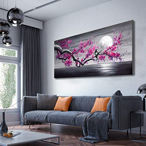 Framed Plum Blossom Tree Oil Painting Purple Flower Canvas Wall Art Large Gallery Wrapped Black and White Floral Landscape Pictures Living Room Home Decoration Office 24×48 inches
