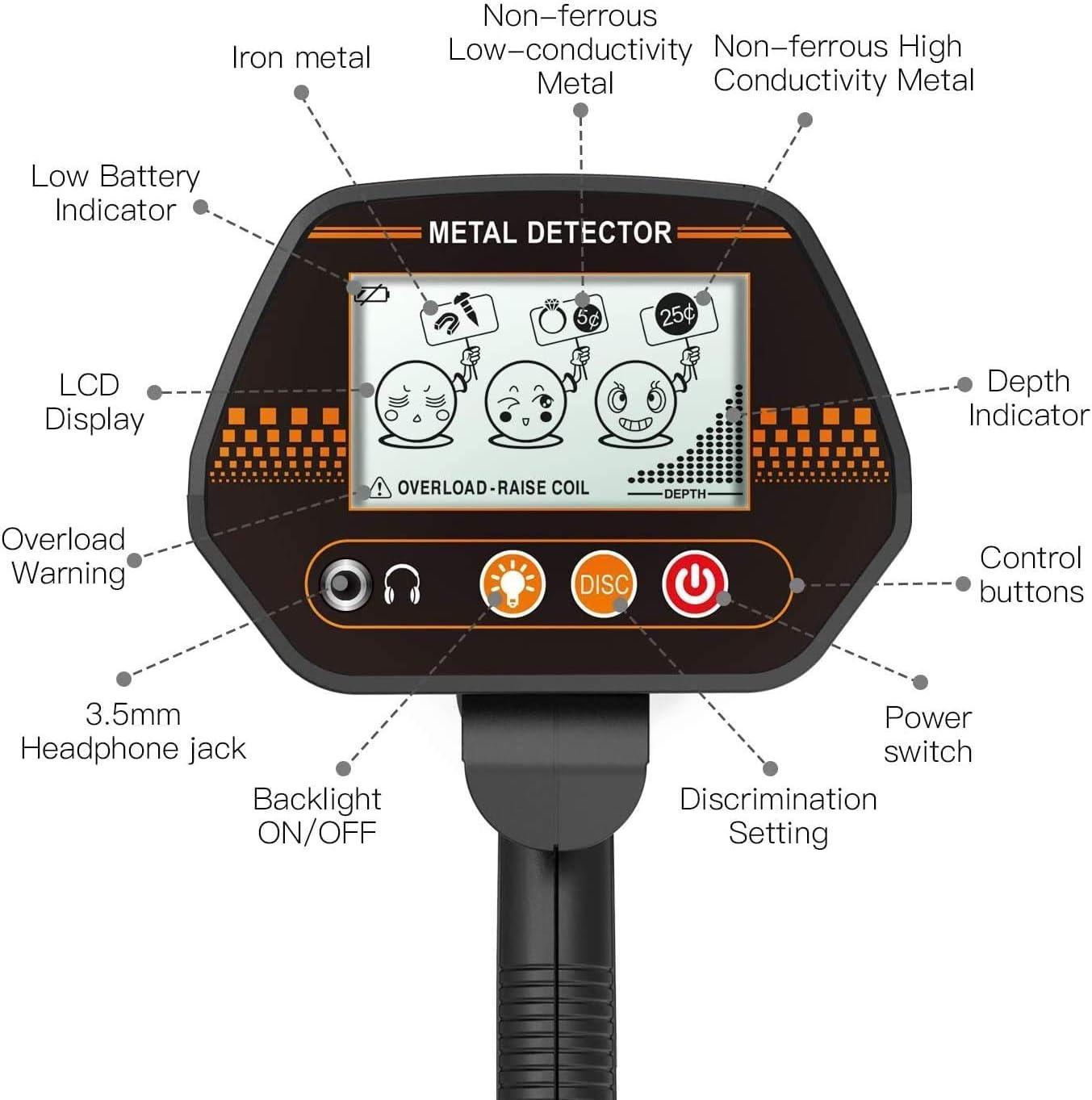 para adultos y ni/ños m/ódulos m/ódulos Tacklife MMD02 con bobina de b/úsqueda impermeable Detector de metales de metal sensible y ligero para detectar metales tesoros plata oro