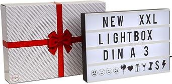 Cinematic Light box A3, Caja de luz LED con 120 letras incl. USB, Ideal como regalo, decoración de bodas, cumpleaños, decoración, IP20, 4,5 W: Amazon.es: Iluminación