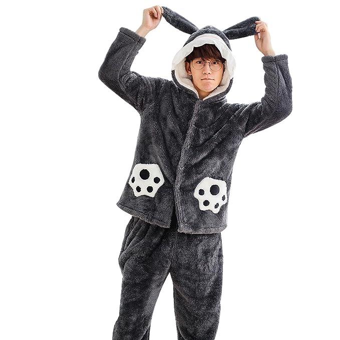 Nuevo otoño e invierno de felpa gruesa pijamas parejas hombres de gran tamaño de la chaqueta con capucha señoras servicio a domicilio: Amazon.es: Ropa y ...