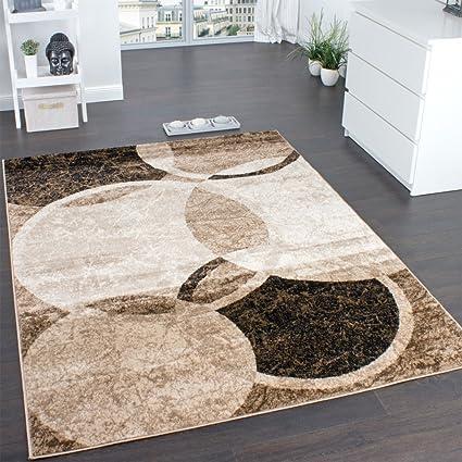 paco home tappeto per salotto  Paco Home Tappeto di Design per Salotto Motivo A Cerchio Marrone ...