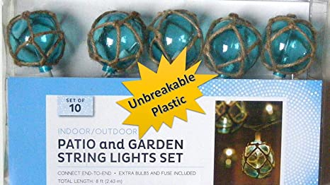 TopNotch Outlet Nautical Blue Buoy Float Patio And Garden String Light Set  Of 10   Unbreakable