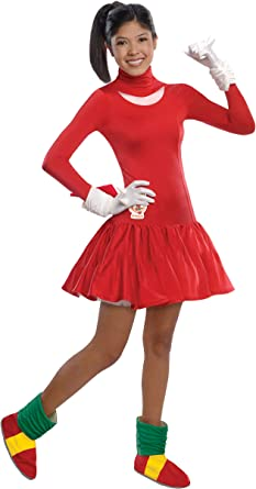 Amazon Com Rubie S Sonic The Hedgehog Knuckles Dress And Accessories Red Teen Clothing